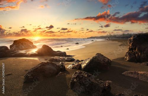 Papiers peints Beige Crépucule plage de Bois Blanc, La Réunion