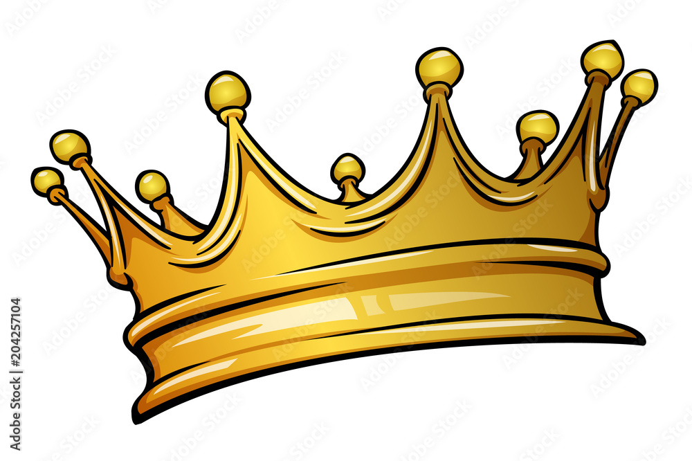 Fototapeta Golden crown mascot. Vector illustration isolated on white background. Good for logos, icons, posters, stickers.