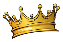 Golden Crown Mascot. Vector Illustration Isolated On White Background. Good For Logos, Icons, Posters, Stickers.