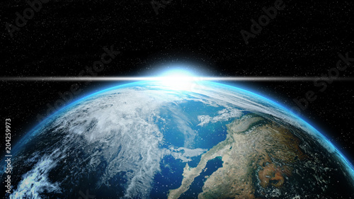 Keuken foto achterwand Nasa Earth in deep space with lighting sunlight. Group of stars on black background. Astronomy and science concept. Blue Marble Global and Dark planet theme. Elements of this image furnished by NASA.