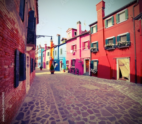 Foto op Aluminium Centraal Europa houses of the island of Burano near VENICE with vintage effect