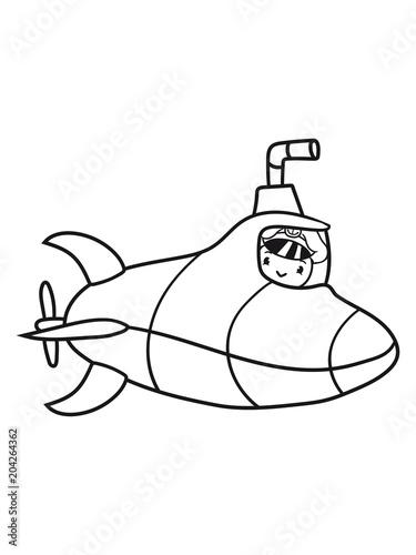 Kapitn Huhn Vogel Gemalt Design Cool U Boot Schwimmen Tauchen