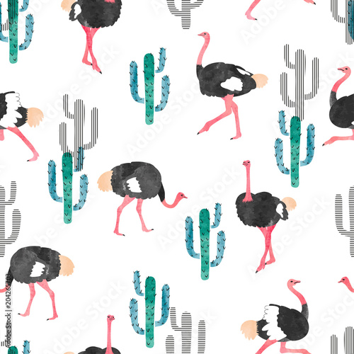 Carta da parati Seamless pattern with watercolor ostrich and cactus