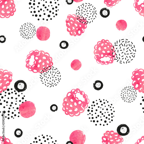 Abstract seamless raspberry pattern in pink and black color. Watercolor raspberry and dots on white background. - 204265976