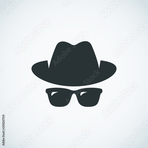 Fotomural Agent icon. Spy sunglasses. Hat and glasses