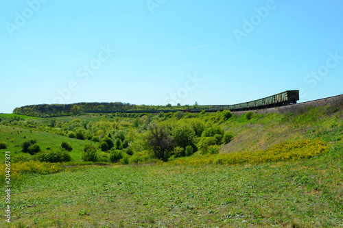 Foto op Aluminium Blauw The whole freight train moves among the fields