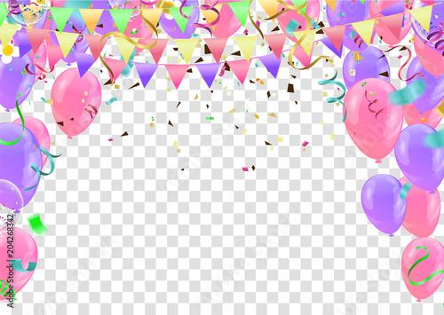 Fototapeta Colorful birthday balloons and confetti Festive  Background Vector. Ready for Text and Design obraz na płótnie