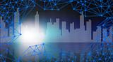 Fototapeta Nowy Jork - sieć połaczeń - miejska grafika z błękitną siatką linii połączonych punktami i panoramą wielkiego miasta w tle