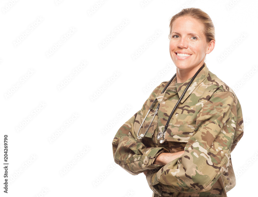 Fototapeta Female Army doctor in uniform with copy space.