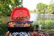 Grilowanie polędwicy, pomidorów i pieczywa w plenerze nad jeziorem na grilu turystycznym.