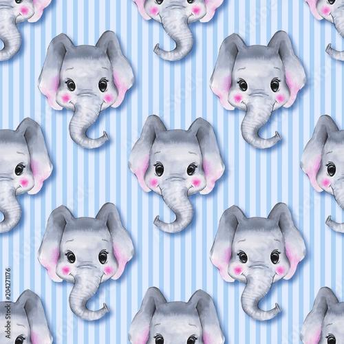 wzor-w-sloniki-slonie-na-niebieskim-tle-w-paski