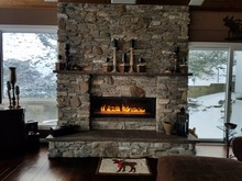 Cozy Home/Vacation Spot With Fireplace A-Glow, In Warm Brown And Grey Tones; Masonry Talent, Vacation, Travel Themes