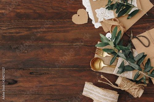 Rustic Wedding Decorations On Wooden Table Top View Buy This