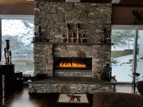 Fotomural Cozy Home/Vacation Spot With Fireplace A-Glow, in Warm Brown and Grey Tones; Mas