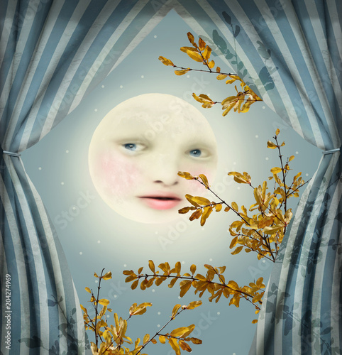 Montage in der Fensternische Surrealismus Fantasy image representing a full moon with a female face between two curtains