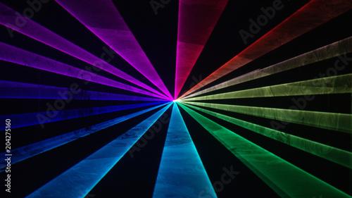 Fotografija Wide rainbow laser beams on black background 3