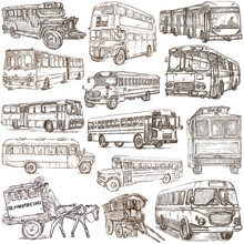 Transport, Transportation Around The World. Buses. - An Hand Drawn Collection. Freehand Sketching.