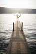 Sunset yoga at the lake