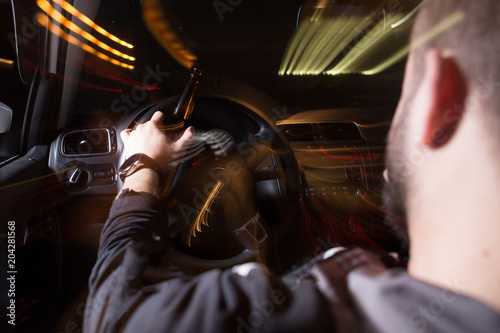 Fototapeta Drunk Driving, Speeding, Being too Tired to Drive are Potential Concepts for Thi