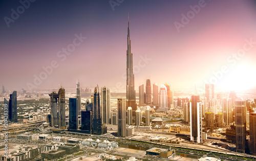 Dubai downtown at sunset, United Arab Emirates