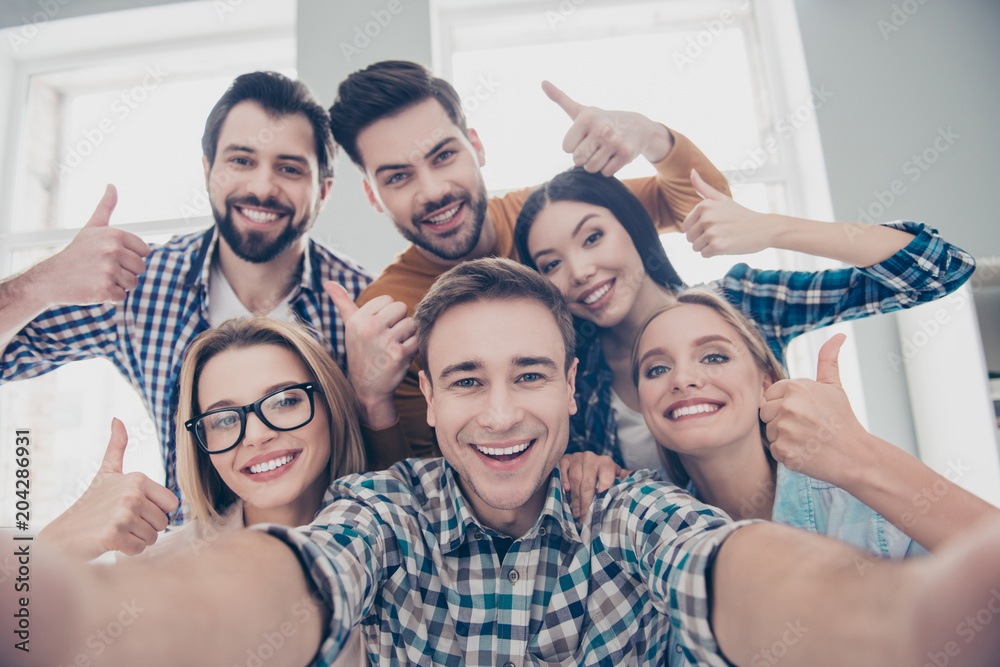 Fototapety, obrazy: Self portrait of economists, students, financiers, lawyers in casual outfit showing thumb up with fingers shooting selfie on front camera with joyful cheerful expression having leisure, timeout
