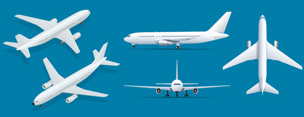 Fototapeta Airplanes on blue background. Industrial blueprint of airplane. Airliner in top, side, front view and isometric. Flat style vector illustration.