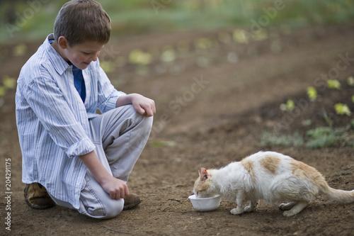 Boy watching a cat drinking milk