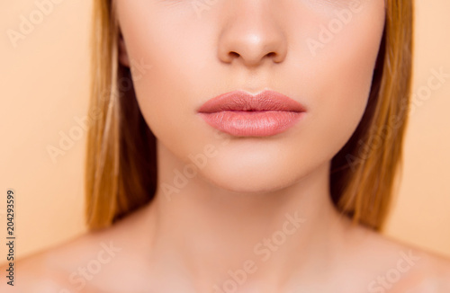 Close up cropped half face portrait of attractive, nude, natural, perfect, ideal Wallpaper Mural