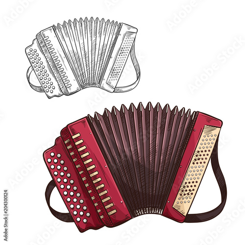 Cuadros en Lienzo Vector sketch accordion musical insturment icon