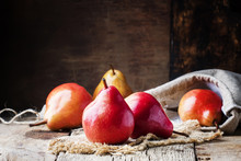 Pears, Old Wooden Background, Selective Focus