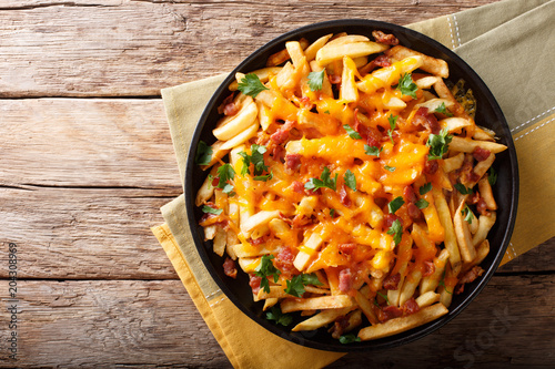 Freshly cooked French fries baked with cheddar cheese, bacon and parsley closeup. horizontal top view