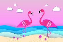 Elegant Two Pink Birds - Flamingo And Lifebuoy In The Sea In Paper Cut Style. Origami Layered Beautiful Seascape And Sky.