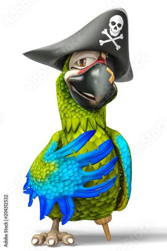 Fototapeta premium pirat, papuga, rysunek