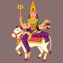 Statue Of Indian Goddess Maha Gauri Sculpture