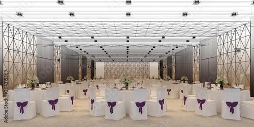 Vászonkép banquet hall 3d,rendering
