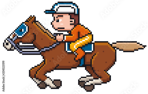 Foto op Aluminium Pixel Vector illustration of Cartoon Horse riding - Pixel design