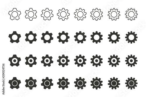 Settings vector icons set.