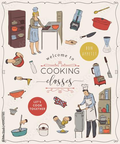 lekcje-gotowania-szablon-projektu-z-osobami-przygotowujacymi-posilki-przybory-kuchenne-i-urzadzenia-na-bialym-tle-elementow-na-bialym-tle-ilustracja-wektorowa-w-stylu-szkicu