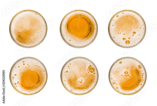 Spoed Foto op Canvas Bier / Cider Collection set mug of beer with bubble on glass isolated on white background celebration object design top view