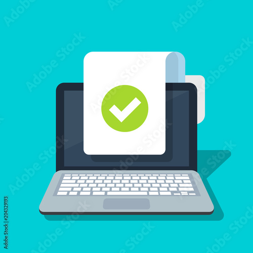 Document And Checkmark Vector Icon On Laptop Background Concept Or