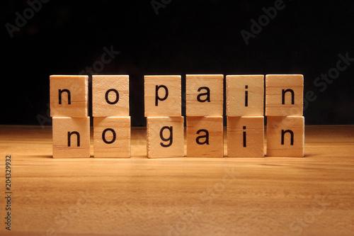 No pain no gain wooden blocks. Wallpaper Mural