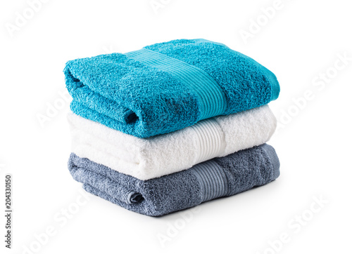 Stacked blue white and gray towels isolated on white Tapéta, Fotótapéta