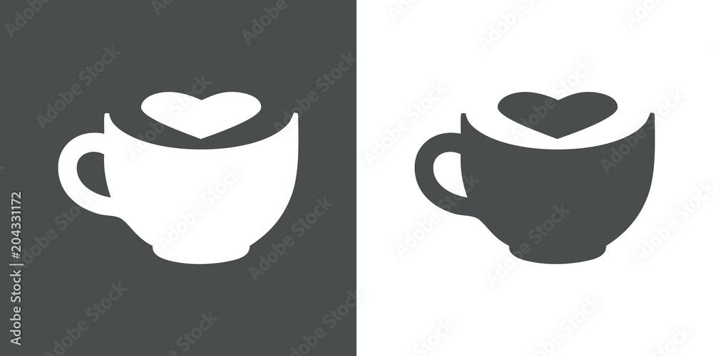 Fototapeta Logotipo taza de cafe con corazon espacio negativo en gris y blanco