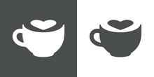 Logotipo Taza De Cafe Con Corazon Espacio Negativo En Gris Y Blanco