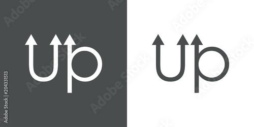 Tipografia up con flechas en gris y blanco