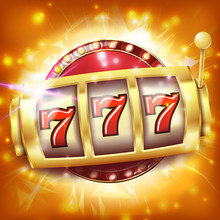 Casino Slot Machine Banner Vec...