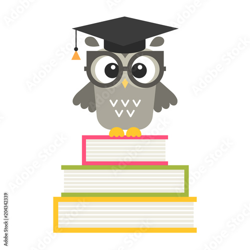 Poster Uilen cartoon cute owl on the books isolated on white