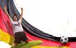 Leinwanddruck Bild Fußballfan vor einer Flagge