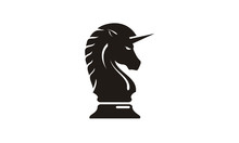 Black Chess Knight Horse Pegasus Unicorn Silhouette Logo Design