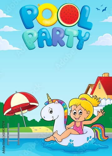 Tuinposter Voor kinderen Pool party theme image 2